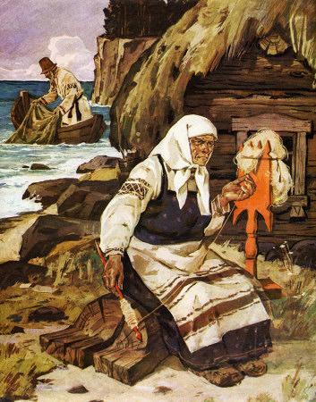 старик ловил неводом рыбу старуха пряла свою